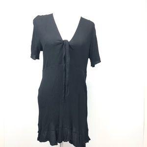 Asos Black V Neck Tie Bodice Short Sleeve Dress